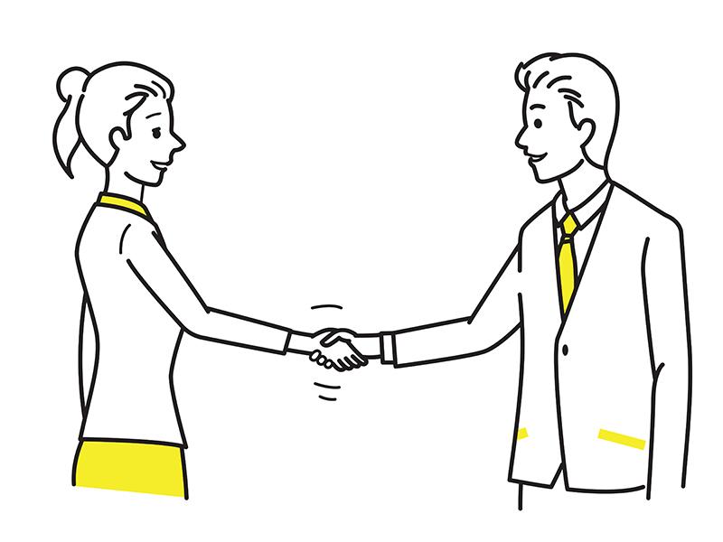 両面提示と片面提示で納得した二人が握手